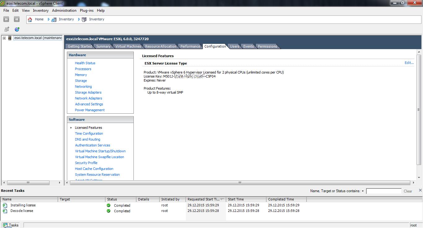 vSphere Client. Licensed Features