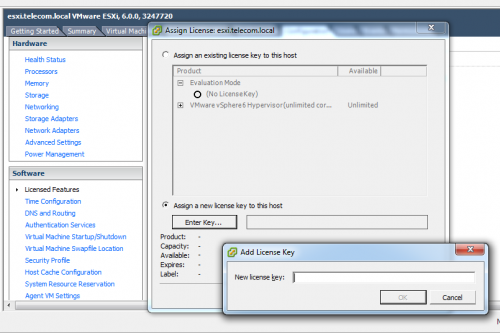 vSphere Client. Add License Key