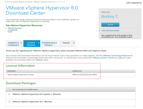 VMware vSphere Hypervisor 6.0 Download Center. License Keys