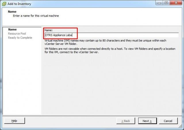 VMware vSphere Client, Add to Inventory