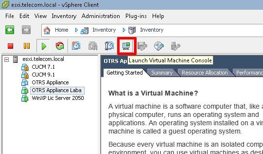Запуск консоли виртуальной машины