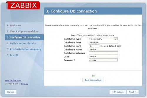 Zabbix. Configure DB connection