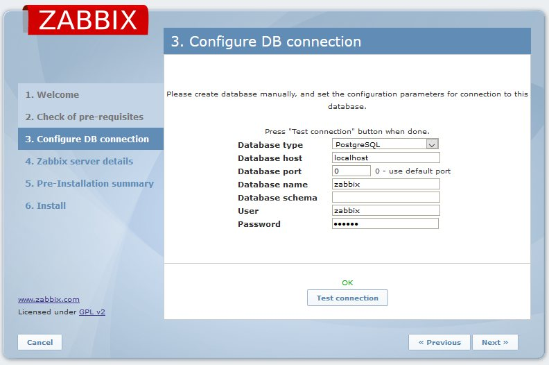 Zabbix. Configure DB connection