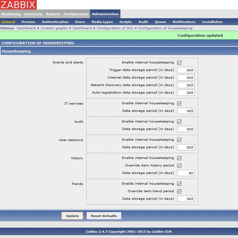 Zabbix. Configure housekeeper