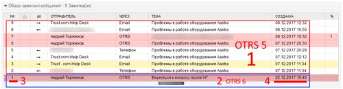 OTRS 6. Проблема с сортировкой сообщений