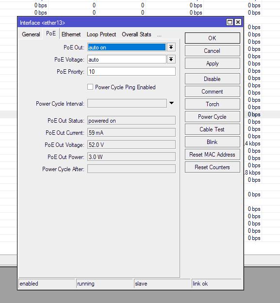 CRS328-24P настройки PoE 802.3af (PoE Voltage: Auto)