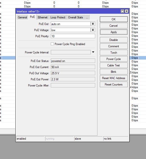 CRS328-24P настройки PoE Passive (PoE Voltage: Low)